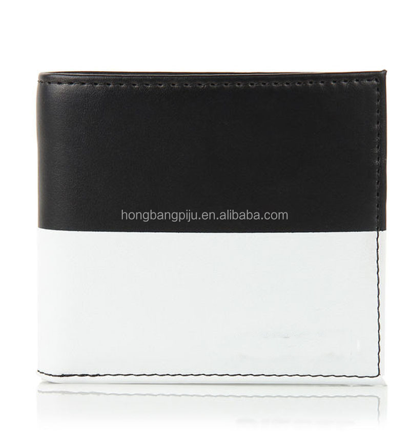 2015 Best Brand black and white dual color grain leather men wallet