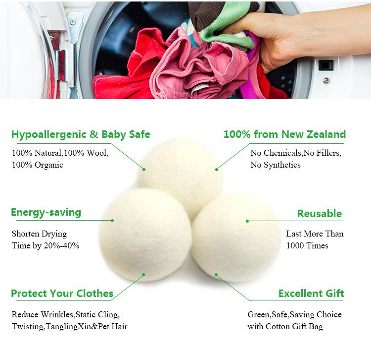 All'ingrosso della fabbrica 100% Lana della Nuova Zelanda 5mm 5 cm 8 cm Naturale Bucato Bianco Lana Dryer Balls