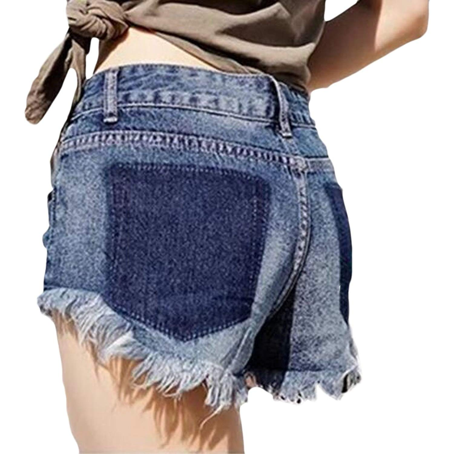 0285ac3a84 Get Quotations · Fensajomon Womens High Waist Cut Off Distressed Ripped  Distressed Sexy Casual Denim Shorts Jeans