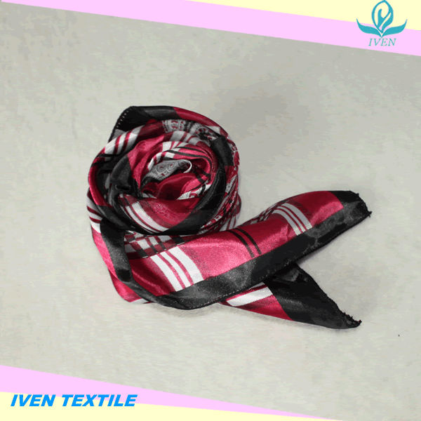 Fashion satin scarf with fancy design printed kerchief