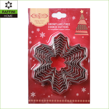 Snowflake 9pc stainless steel cookie mould set