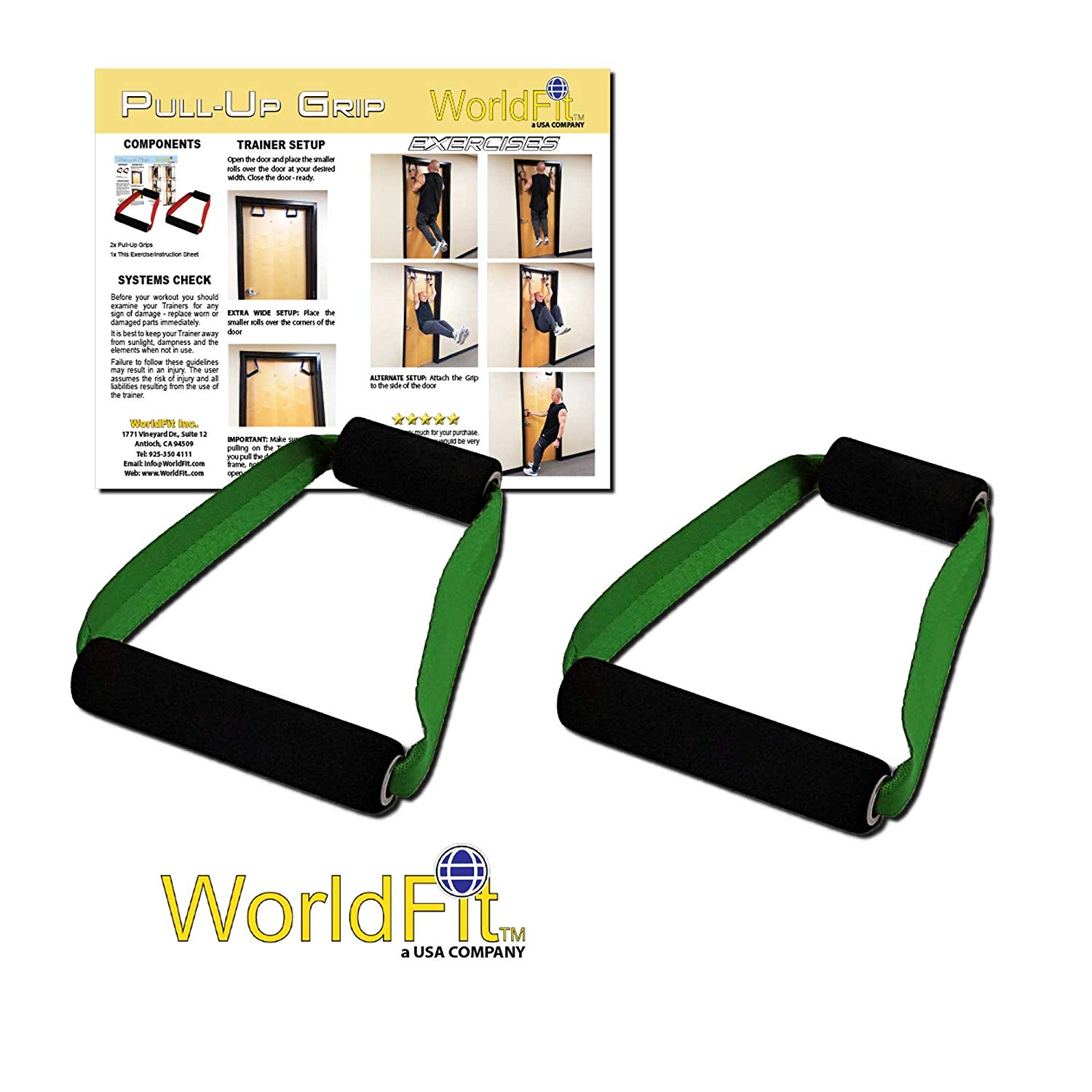 WorldFit Pull-Up Grips for Door in Home, Office and Hotel, Portable Pull Up Bar Home Gym (olive drab)