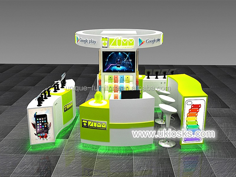 Newest cell phone accessories kiosk / phone cases display showcase / phone kiosk design for sale