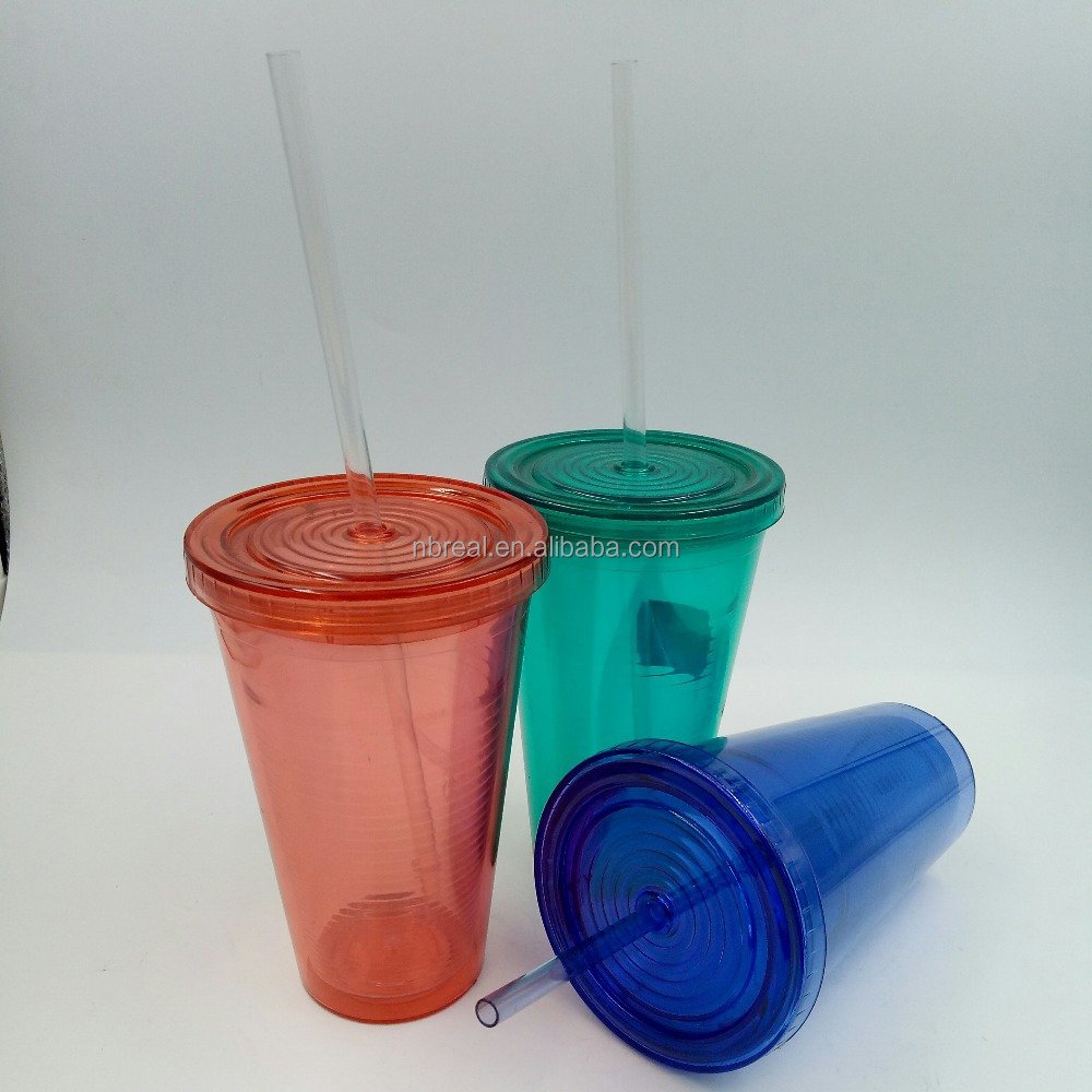 PP plastic double wall straw cups with lines