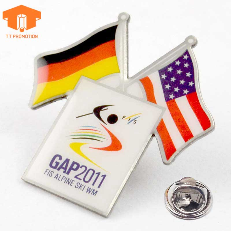Tt Promotion Countries Crossed Aluminium Material Double National Gold Flag Metal Badge Lapel Pin