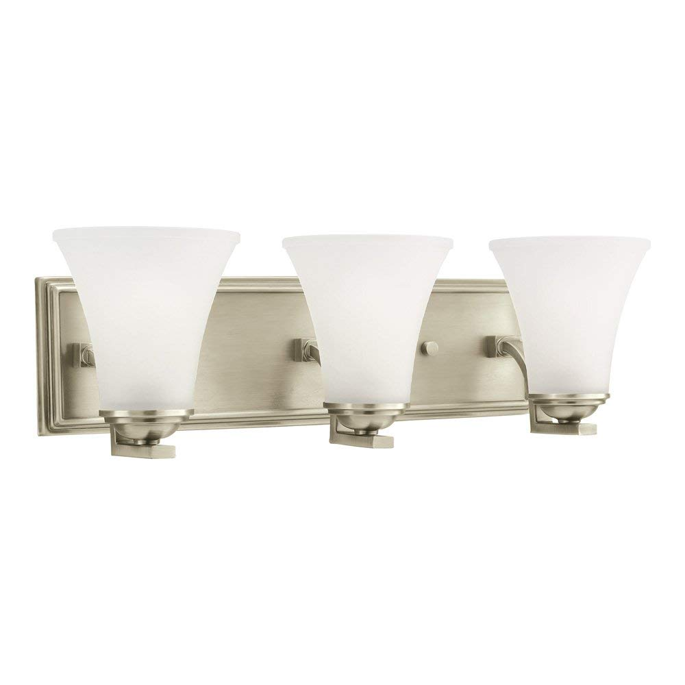 Sea Gull Lighting 44376-965 Somerton Three-Light Bath or Wall Light Fixture with Satin Etched Glass Shades, Antique Brushed Nickel Finish