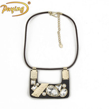 High quality fashion crystal pendant leather choker necklace
