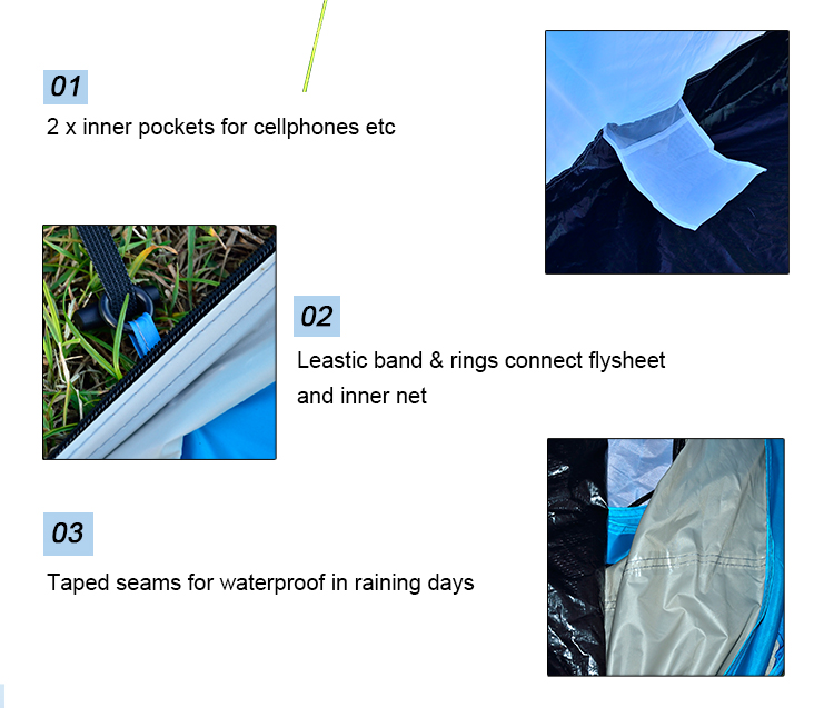 High Quality Waterproof Windproof 2 Person Double Layer Pop Up Tent