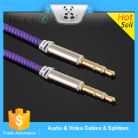 100%Good quality Purple 3.5mm Jack to Jack Car Aux Audio cable usb cable Compatibility with Any Cell Phones/MP3 Players/PDA