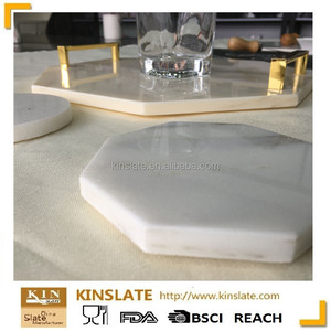 laser carving hexagon acrylic white marble coasters