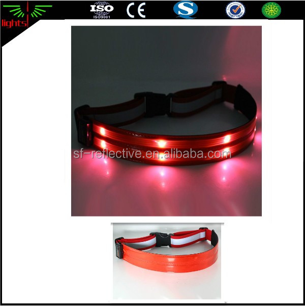 usb rechargeable nylon safety band / led light reflective belt / belly waist bag fitness running