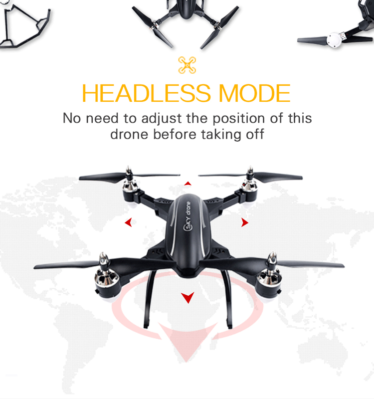 Flytec T22  Big Foldable Drone Quadcopter with 3D Flip LED light Altitude Hold RC Drone black