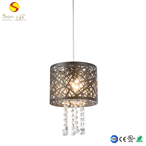 wholesale contemporary living room three heads crystal stainless steel pendant lamp