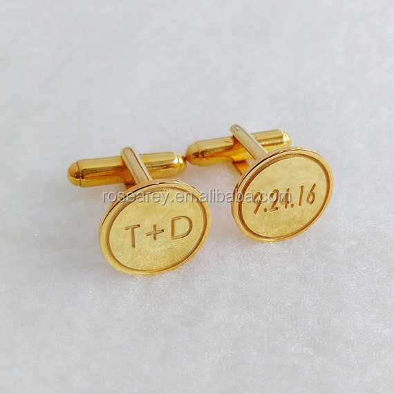 Stainless Steel Gold Plated Double Initial Cufflinks Engraved Logo Groom Wedding Cufflinks