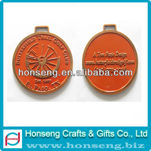 Customized engraved metal gold medal and ribbon