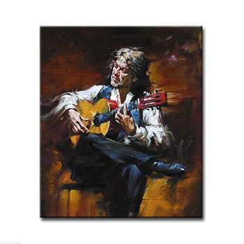 Myt Old Man Playing Guitar Canvas Self Portrait Oil Painting For