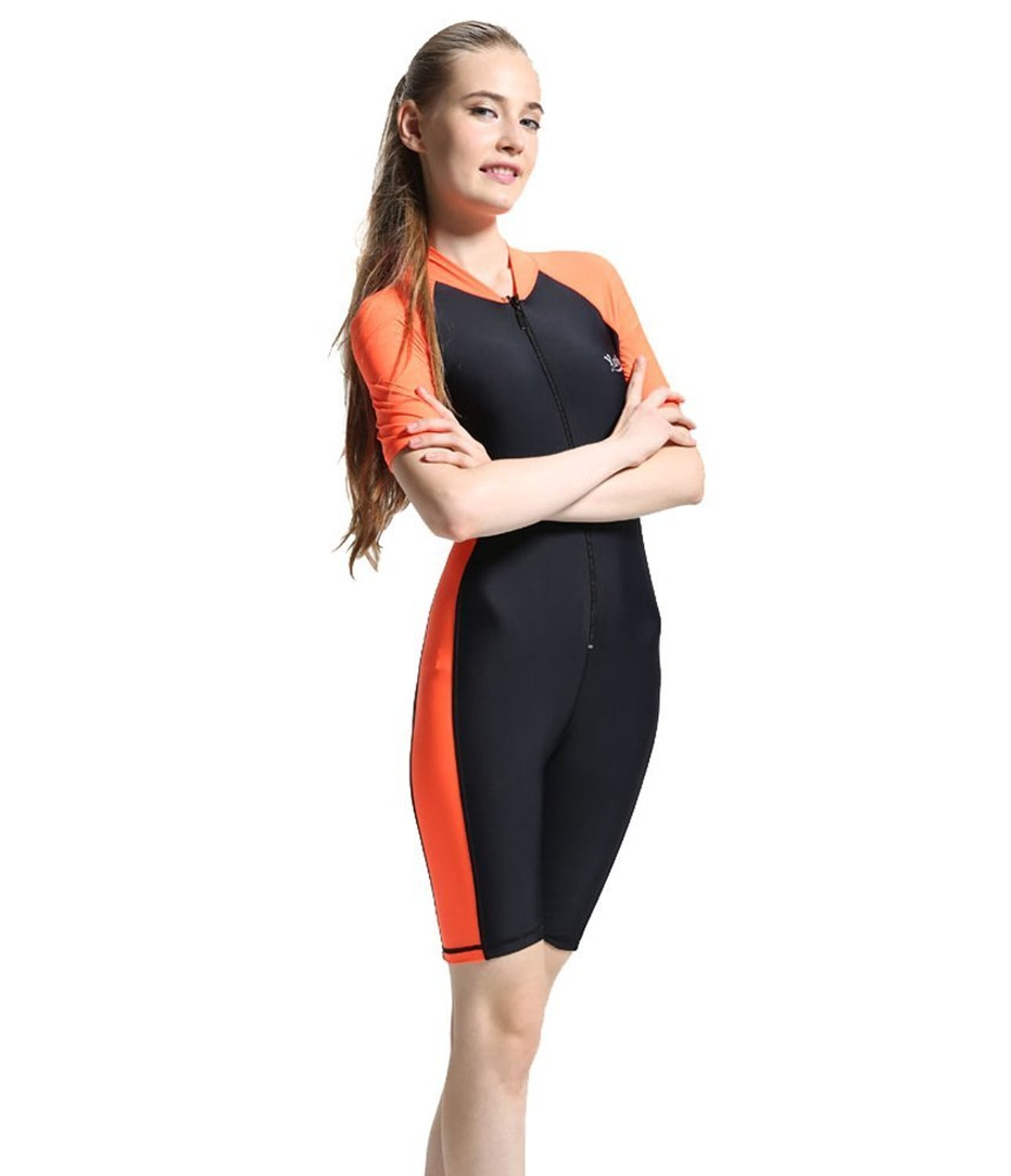 a8e40c4a5eca8 Crystal Hays One-piece Snorkeling Surfing Swim Suit Short Sleeves Plus Size  Swimwear- Sun