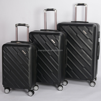 black color spinner plastic trolley bag abs 4 wheels TSA lock 3 pcs set ABS luggage