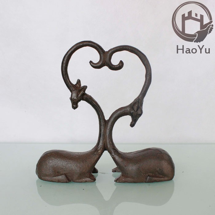 cast iron two deers sculptures for home Ornaments