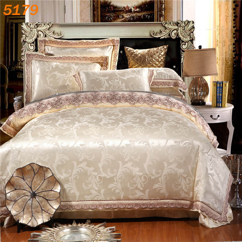 New Arrival Off White Silk Bedding Set Queen Size Linen King Bed Duvet Cover Cotton Sheet 5179