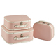 Lightweight small leather pu pink vintage style travel luggage set