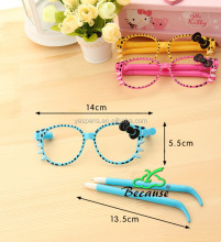 Novelty cute cartoon hello kitty plastic glasses pens for kids free samples