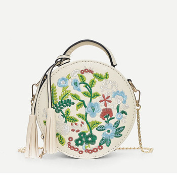 Tassel Decor Floral Embroidered Crossbody Bag for ladies