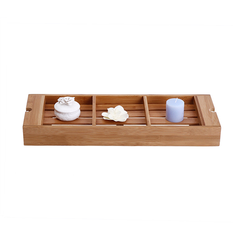 Organic wooden over bath caddy with wine glass holder