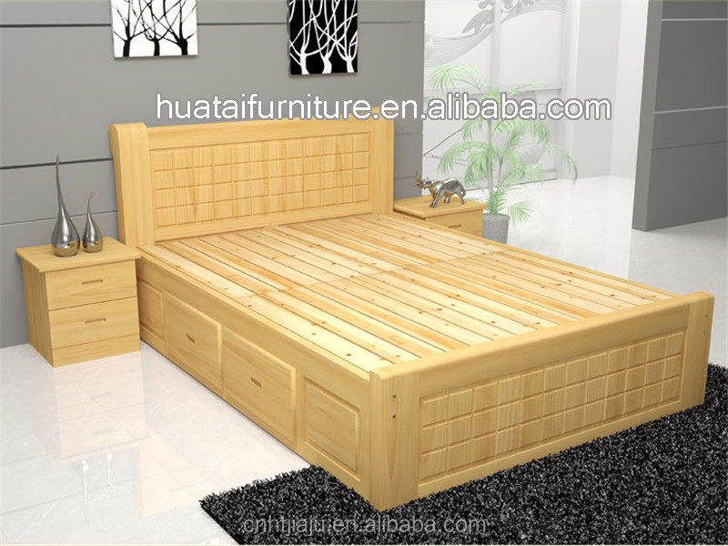 1.5 pine solid wood pine wood log lubricious bed double 1.8 high box  storage bed solid