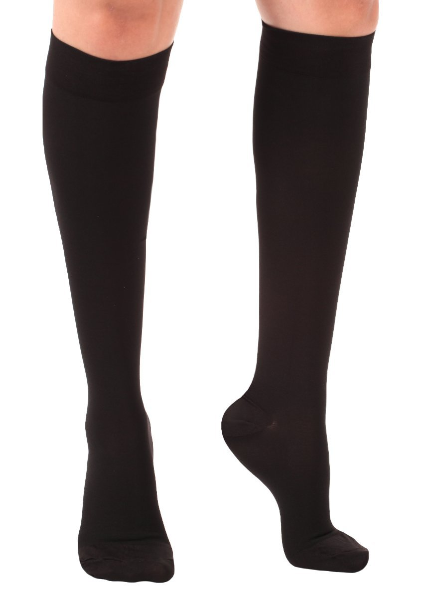 Opaque Compression Socks – X-Firm Support Socks 30-40mmHg - Graduated Compression Stockings, Size 3XL, Color Black – Medical Compression Stockings Made in USA – Absolute Support Model A301