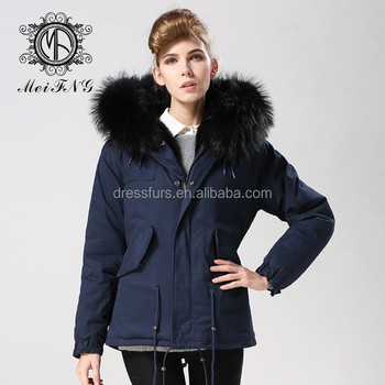 Black Faux Fur Lining Mens Parka Coats Uk With Drak Blue Cotton ...