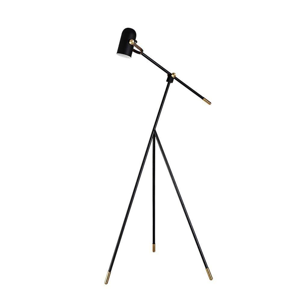 Adjustable Tripod Metal Floor Lamp, 3 Legs, Iron Lampholder, E27, Living Room Bedroom Bedside Study Studio Floor Lamp, Nordic Simple Style Adjustable Three-Foot Long Arm Floor Lamp, Black