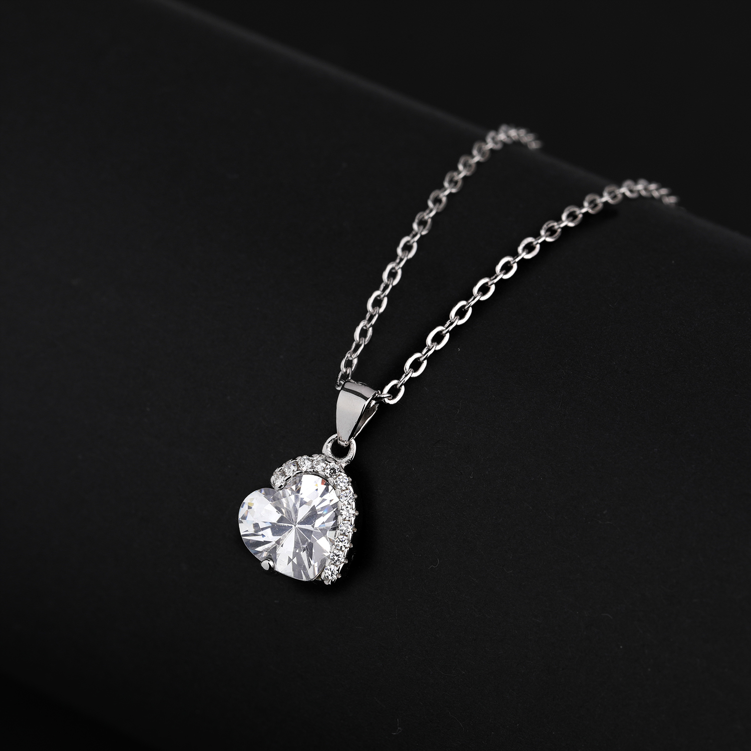 girls wedding stone 925 sterling silver heart necklace pendant
