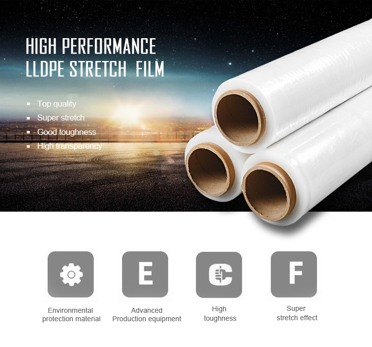 China Export Lldpe Strech Film Krimpen Rap Paller Wrapper