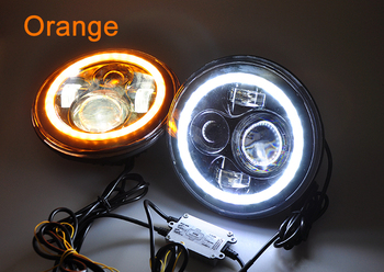 Motorcycle LED 7 Inch Round Headlight - Black w/ Halo Angel Eyes DRL Ring - Low & High Beam - Full Retrofit Kit Simple install