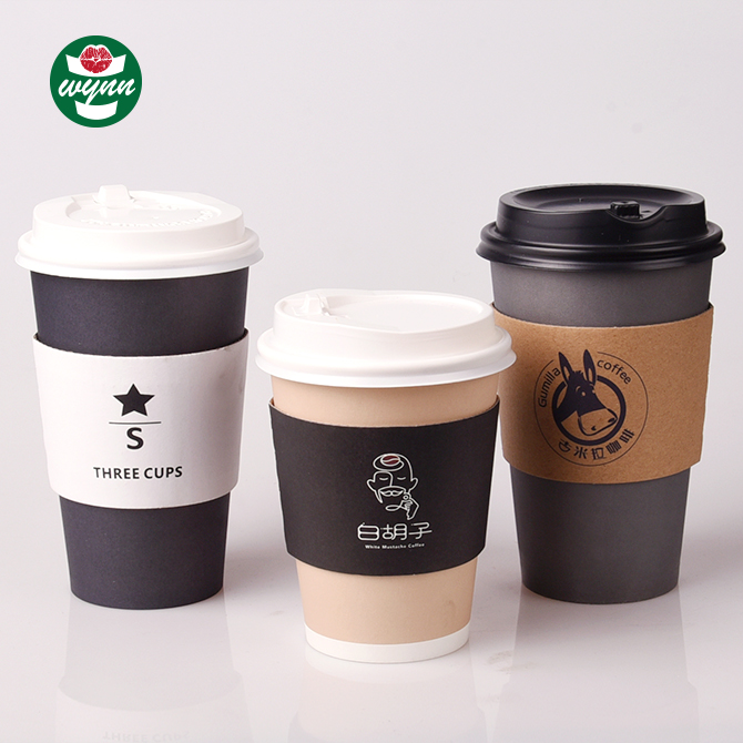 Logo Design bio single wall pe coated paper cup with sleeve