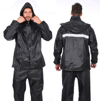 100% Polyester PVC Waterproof Rain Jacket with Pant Bib Hooded Raincoat Black Rain Suit wholesale for Fishing golf equipment