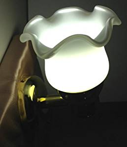 LED BRASS READING WALL LIGHT DIMMABLE MARINE BOAT 140LUMEN ACCENT FROSTED GLASS