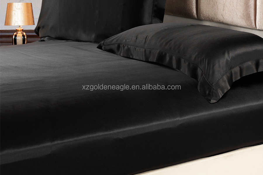 900 Black 19 Momme Seamless Silk Sheets Set