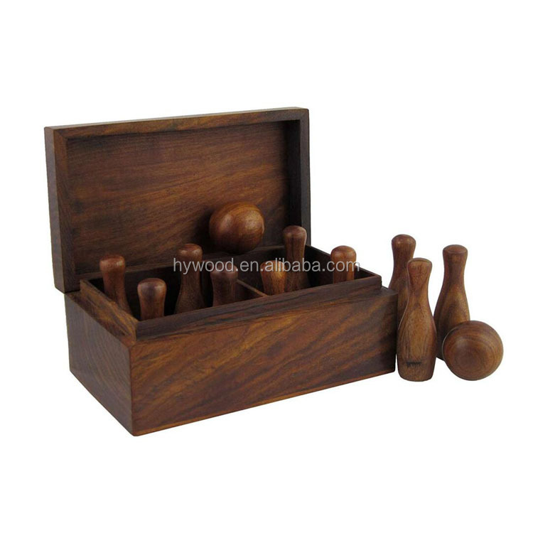 custom children playing game unfinished wood bowlling