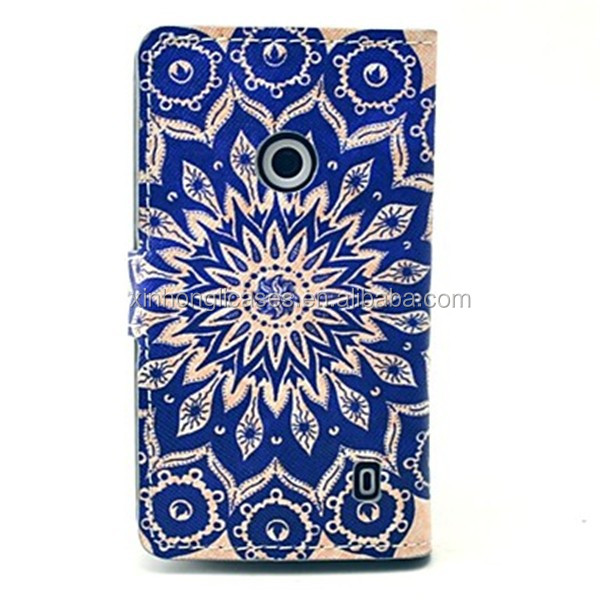 Flower Pattern PU Leather Cover Full Body Case with Card Slot for Nokia Lumia N520