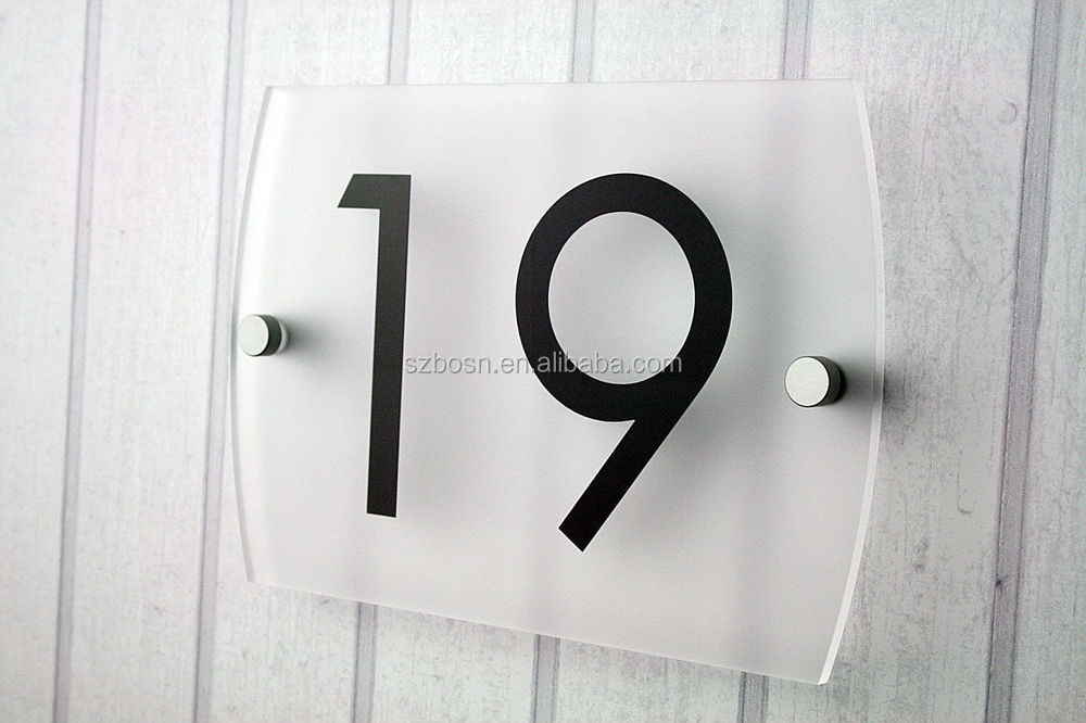 style moderne acrylique maison porte signe numéro / plexiglas rue
