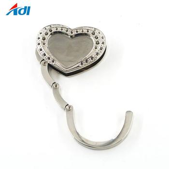 Bulk custom logo heart shape metal tabletop purse hook bag hanger