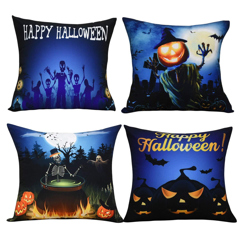BLEUM CADE Halloween Theme Pillow Covers Happy Halloween and Pumpkin Throw Pillow Case Daily Decorations Sofa Throw Pillow Case Cushion Covers Zippered Pillowcase