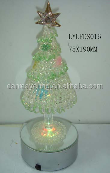 Vintage glass stone xmas trees with led lights for home decor