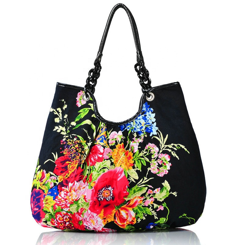 LOW MOQ Top Selling Special Design <strong>Eco</strong> Friendly Carry Shopping Bag Calico Bag With Flower