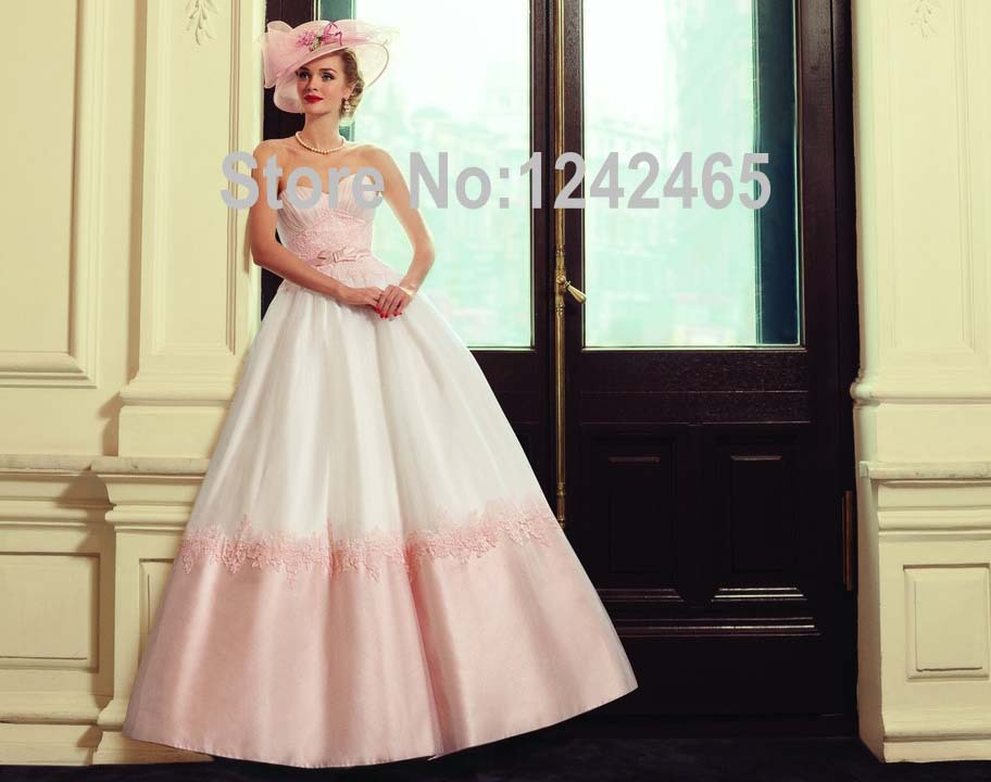 Lace Ball Gown Wedding Dresses: 2016 Angle's Bridal Sweetheart Peach Colored Wedding Gowns