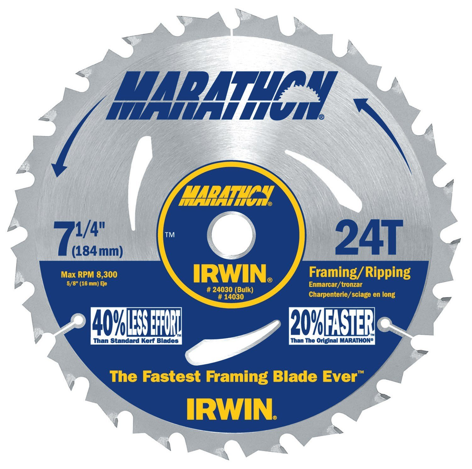 (60 Pack) Irwin 24030 Marathon 7-1/4-Inch 24 Tooth ATB Framing and Ripping Saw Blade with 5/8-Inch and Diamond Knockout Arbor