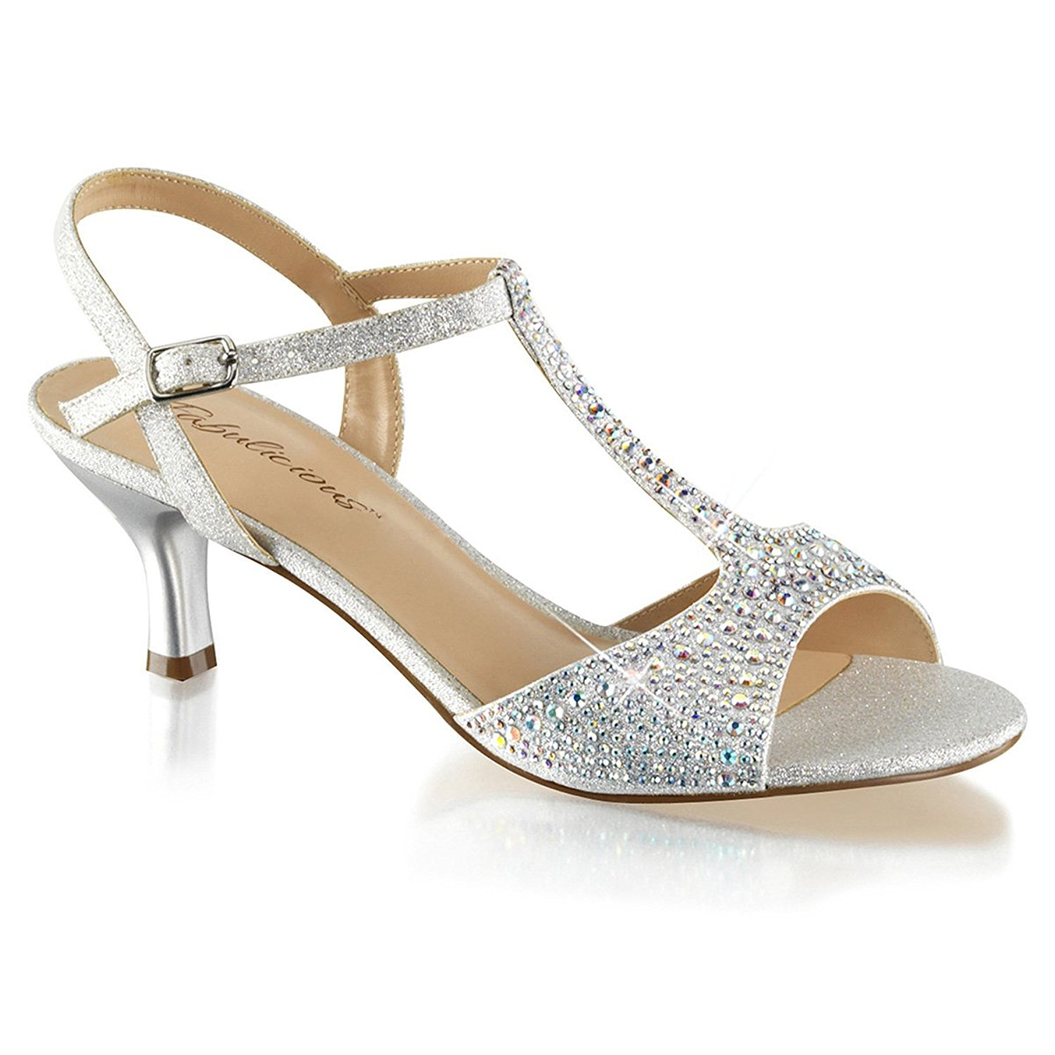 760e59555c50 Get Quotations · Summitfashions Womens Kitten Heel Wedding Shoes T Strap Sandals  Silver Rhinestone 2 1 2 Inch