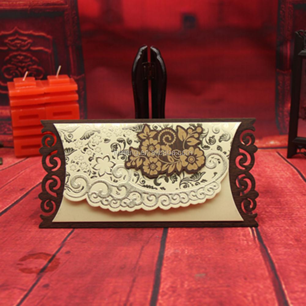 Pearl Paper Material Elegant Laser Cut Wooden Wedding Invitations ...